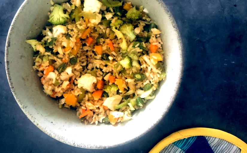 Rainbow Meal #2: Coconut Veggie Brown Rice, Indo ChineseStyle