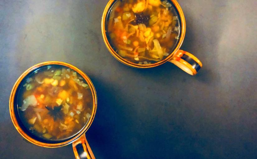 Clear Veggie Rainbow soup, Vietnamese phostyle